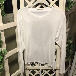 Zara Basic Collection White Wrap LS Top